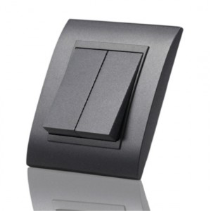 2 gang 2 way anthracite grey light switch - big button
