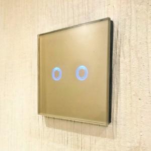 Gold Glass LED Dimmer 2 Gang